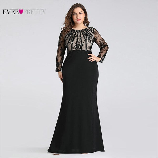 Plus Size Evening Dresses Long 2020 Ever Pretty Elegant Mermaid Lace Full Sleeve O-neck Robe De Soiree New Wedding Guest Gowns