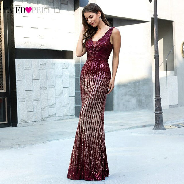 Sexy Burgundy Evening Dresses Ever Pretty EP00616BD Sequined Striped Sleeveless Double V-Neck Mermaid Evening Gowns Lange Jurken