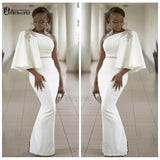White Evening Dresses 2020 One Shoulder Half Sleeves Mermaid Formal Beading African Dubai Women Long Prom Robe De Soiree Gown