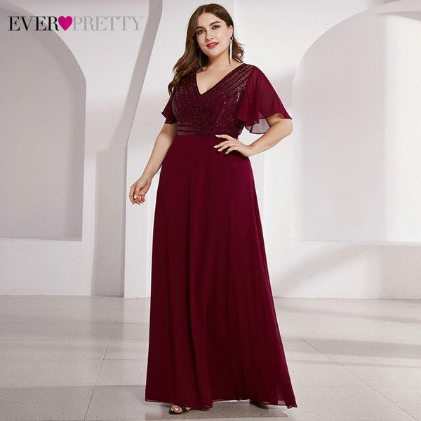 Plus Size Burgundy Evening Dresses Ever Pretty Sequined Ruffles Sleeve A-Line Elegant Sparkle Party Gowns Vestido Formatura 2020