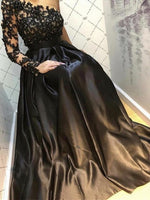 BEPEITHY One Shoulder Black Long Evening Dress Party Elegant Robe De Soiree Long Sleeve Vintage Prom Gown 2020