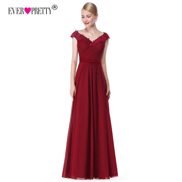 Robe De Soiree 2020 EB23368 Elegant A Line V Neck Appliques Formal Evening Dress Long Red Formal Wedding Party Gowns Plus Size