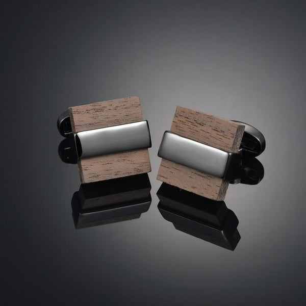Luxury Wooden Shirt Cufflinks for mens Brown cuff link button High Quality Wedding Groom Jewelry - zotmo