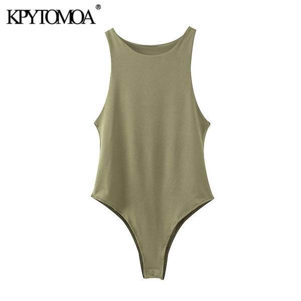 KPYTOMOA Women 2020 Sexy Fashion Stretchy Slim Solid Bodysuits Vintage O Neck Sleeveless Female Playsuits Chic Tops