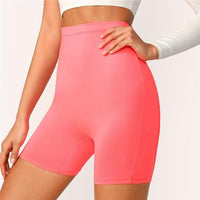 SHEIN Solid Cycling High Waist Leggings Women 2019 Athleisure Crop Fitness Leggings Summer Ladies Casual Workout Leggings - zotmo