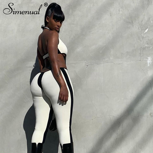 Simenual Patchwork Backless Fitness Rompers Womens Jumpsuit Sleeveless Sporty Workout Active Wear Bodycon Athleisure Jumpsuits