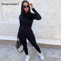 Bangniweigou Long Sleeve Fitness Stretchy Jumpsuit Women Zip Up Black One-piece Jumpsuit Casual Streetwear Skinny Long Overalls