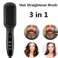 Hair Straightener Hot Comb Pro LCD Heating Electric Ionic Straighten Hair Styles Anti Static Ceramic Straightening Beard Comb