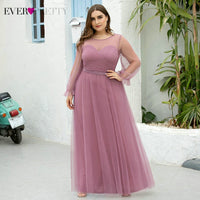 Summer Pink Evening Dresses Ever Pretty New Arrival A-line Tulle See-through O-neck Crystal Long Party Gowns Vestidos De Fiesta