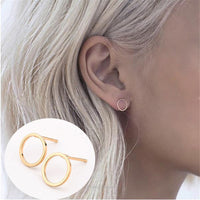 New minimalist round circle stud earring Trendy simple stainless steel earrings for women jewelry bijoux brinco boucle d'oreille