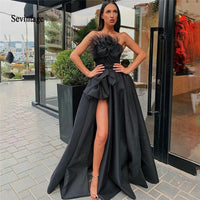 Sevintage Black High Split Evening Dresses 2020 Strapless Feather Draped Satin Prom Dress Custom Made Formal Party Gowns