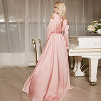 Eightree Long Bell sleeve Evening Dress Strapless Shoulder Pink/Sky Blue Party Sweet Dress Front Split with Belt Long Prom Dress