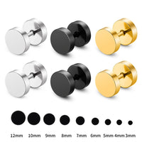 UAH 1 Pair Fashion Punk Earrings Double Sided Round Bolt Stud Earrings Male Gothic Barbell Black Earrings Men women Jewelry Gift