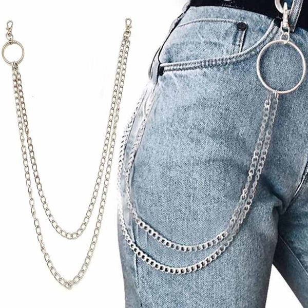 Street Big Ring Pendant Key Chain Rock Punk Trousers Hipster Key Chains Pant Jean Keychain HipHop Portachiavi Kpop Accessories