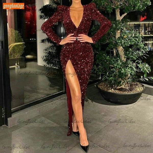 Black Mermaid Evening Gown Sexy Slim Fit Custom Made Women Evening Dresses Long Sleeves Sequined Side Split Robe De Soiree 2020