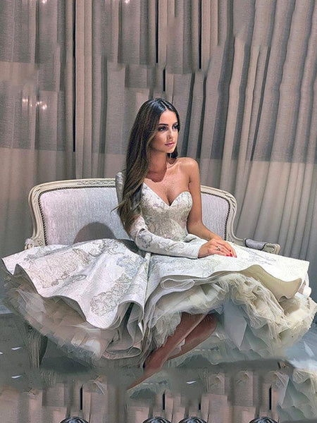 Smileven One Shoulder Lace Prom Dress Ball Gown Short Robe de Soiree Long Sleeve Evening Party Gowns Knee Length Evening Dress