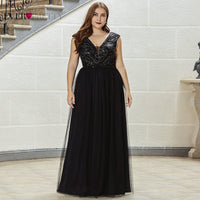 Black Plus Size Evening Dress Ever Pretty EP00551BK Elegant A Line V Neck Embroidery Beaded Long Tulle Formal Party Dresses 2020