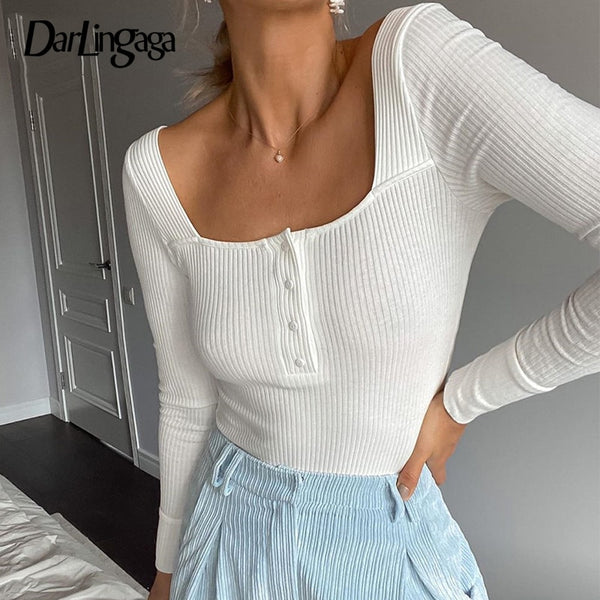 Darlingaga Square Neck Ribbed Knitted Long Sleeve Bodysuit Women Autumn Winter Body Skinny Basic Buttons Bodysuits Casual Romper