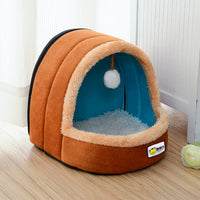 Cute Cat Bed Indoor Kitten House Warm Small for cats Dogs Nest Foldable Cat Cave Sleeping Plush Mats Soft Cat House