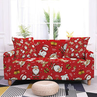 Christmas Sofa Decor Elastic Sofa Cover For Living Room Stretch Non-slip Couch Cover Santa Claus Sofa Slipcover Chair Protector