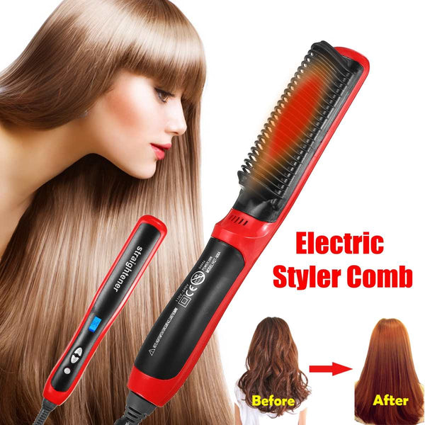 Hair Straightener Multifunctional Beard Styler Brush Heat Hair Ceramic Curler Electric Straightener Hot Comb Hair Care Machine