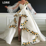 LORIE 3D Lace Gold Flowers Evening Dresses Formal Off the Shoulder Long Sleeve Celebrity Dresses Beauty Pageant Gowns Plus Size