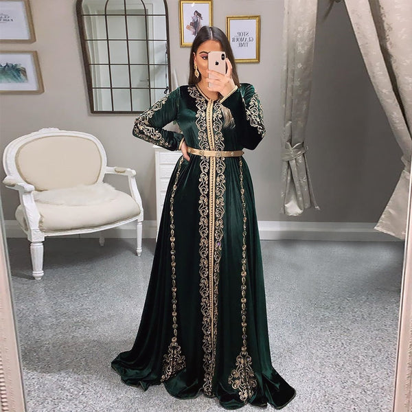 Bbonlinedress Moroccan Caftan Evening Dresses Beads Hand Work Muslim Evening Dress Arabic Abaya Formal Dress robe de soiree