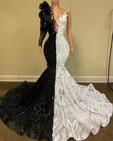 Black White Prom Dress Mermaid One-shoulder Long Sleeves Lace Sequins South African Prom Gown Evening Dresses Robe De Soiree