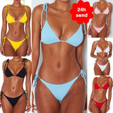 2020 Women Fashion Padded Bra Bikini Set Swimsuit Ladies Solid Bandage Push-up Triangle Swimwear Bathing Suits Biquini Swimwear