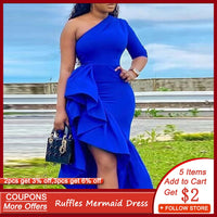 Blue Sexy One Shoulder Party Dress Women Bodycon Ruffles Mermaid Prom Robe Maxi African 2020 Summer Asymmetry Elegant Dresses