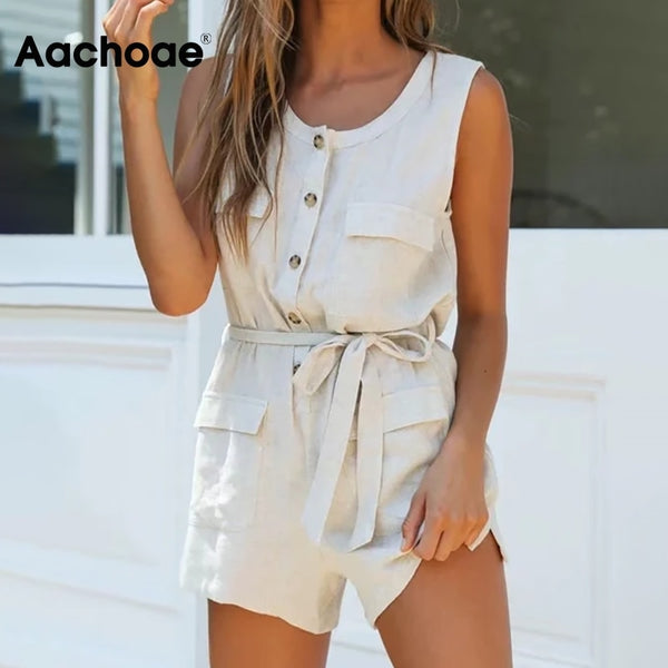 Aachoae Summer Casual Beige Color Jumpsuit Women Cotton And Linen Office Jump Suit O Neck Sleeveless Jumpsuits With Belt