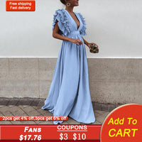 Light Blue Elegant Evening Dress V Neck Ruffled Sleeves A Line Floor Length Women Wedding Party Formal Gowns Evening Dresses