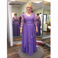 Purple Lace Chiffon Mother of the Bride Dress Plus Size Long Sleeve V Neck Floor Length Wedding Party Prom Formal Evening Gowns