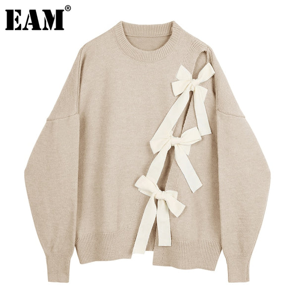 [EAM] Apricot Bow Big Size Knitting Sweater Loose Round Neck Long Sleeve Women Pullovers New Fashion Autumn Winter 2020 1DA814