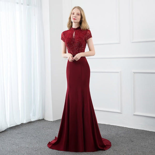 Elegant Burgundy Long Prom Dresses Stones Beaded Cap Sleeve Formal Evening Gown Mermaid High Neck Women Party Dress