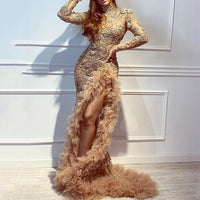 Golden Sexy Backless Evening Dress Female 2020 New Banquet Long Luxury Party Mermaid Dresses Lace Ruffled Robe De Soiree