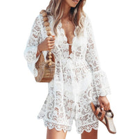 Summer Beach Blouse Women Bikini Tops Lace tunic Hollow Out Crochet Tassel Robe Cover Up Kimono Cardigan Swimsuit