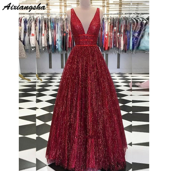 Sparkly Ball Gown Long Prom Dresses V Neck Open Back Burgundy Sequins Evening Party Dress Prom Gown