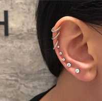 stud kpop crystal small earrings set jewelry accessories for women studs tiny stainless steel men minimalist 2020 fashion ladies