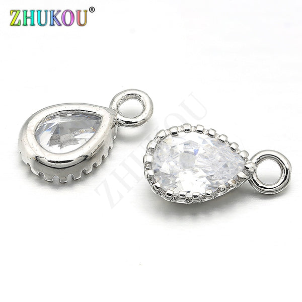 6*11mm Brass Cubic Zirconia Water Drop Charms Pendants Links, Hole: 1.5mm, Model: VD251