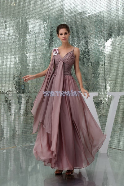free shipping 2018 hot seller high quality design handmade flower strap sexy chiffon evening gown mother of the bride dresses