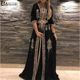 Black Moroccan Caftan Formal Dresses for Women Half Sleeves Embroidery A-Line Robe De Soiree Evening Dresses Gowns vestidos