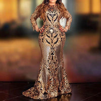 African Women Sequins Patchwork Evening Party Dress Luxury Shiny Long Fromal Prom Dress Sexy Bodycon Dinner robe de soiree