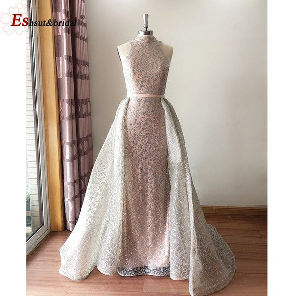 Dubai High Neck Evening Dress 2020 Sleeveless Glitter Sequined Luxury Sparkle Detachable Train Mermaid Formal Party Gowns