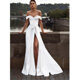 Charming white Formal Evening Dress Sweetheart High Split Off The Shoulder Backless Sweep Train Long A Line Party Wear Dresses
