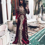 Sevintage Burgundy Moroccan Kaftan Muslim Evening Dress Long Sleeves Lace Appliques Dubai Arabic Prom Gowns Abendkleider 2020