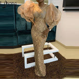 Elegant Lace Prom Dresses 2020 Long Puff Sleeses Mermaid Formal Party Gowns Arabic Aso Ebi Muslim Evening Dresses Plus Size