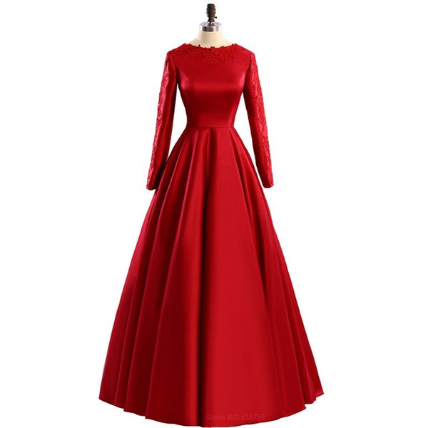 Red evening dress long sleeve muslim formal evening prom party dresses zuhair murad plus size formal dress  free shipping