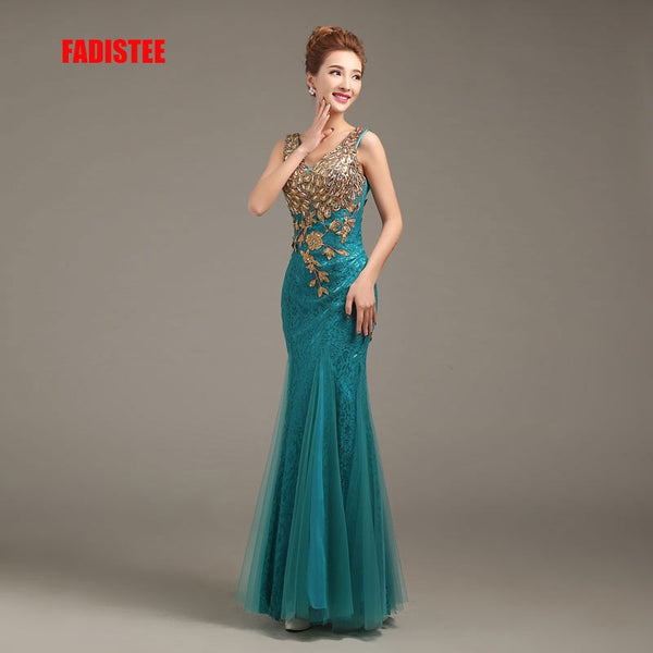 FADISTEE New arrival party legant evening dresses mermaid prom dress Robe De Soiree sleeveless appliques lace beads formal gown