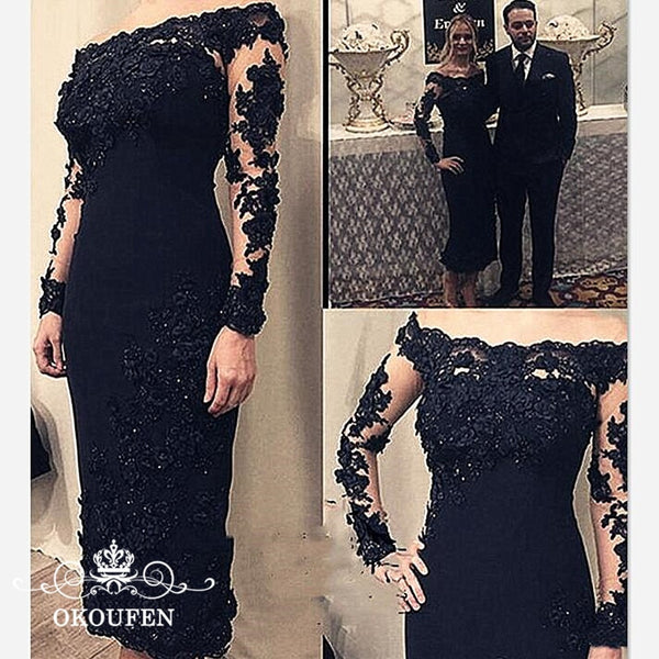 Black Mother Of The Bride Dresses Long Sleeves Sheer Lace 2019 Appliques Beads Off Shoulder Tea Length Evening Dress For Women